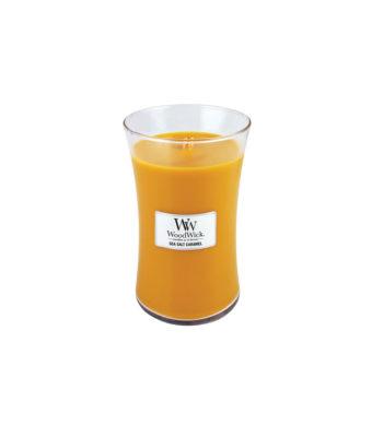 duża świeca woodwick sea salt caramel